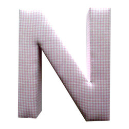 Fabric Wall Letters - Pink Gingham - All Uppercase Letters Available, Letter N - Choose our Pink Gingham fabric letters to create your own unique wall art or personalise your little child's bedroom or baby nursery.