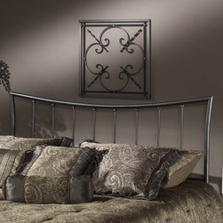 Hillsdale - Edgewood Metal Headboard - Featuring the surprising look of a traditional shape, the Edgewood Headboard is seamlessly crafted to fashion a truly graceful bed. The twin and king sizes are interchangeable duo-panels that may be used as either a headboard or footboard. Too soft to be contemporary, and too clean to be traditional, this Edgewood Headboard from Hillsdale Furniture fits beautifully in those ''in between'' home decors. Features: -2 Holes to screw in to standard headboard frame (hardware not included).-Magnesium pewter finish.-Recommended care: Dust frequently using a clean, specially treated dusting cloth that will attract and hold dust particles. Do not use liquid or abrasive cleaners as they may damage the finish. Minor imperfections in the finishes are common to these types of products.-Frame Material: Metal.-Solid Wood Construction: No.-Upholstered: No.-Distressed: No.Dimensions: -Twin: 48'' H x 41'' W x 1.25'' D.-Full / Queen: 48'' H x 63'' W x 1.25'' D.-King: 48'' H x 78.5'' W x 1.25'' D.-Overall Product Weight (Size: Full/Queen): 34 lbs.