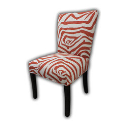Sole Designs - Julia Cotton Parson Chair (Set of 2) - Give your home a new look with these fashionable chairs. This set of two chairs features fabric upholstery and an attractive finish. Features: -Set of 2.-Upholstery: Rust Brow 100% cotton fabric.-Fan Back.-Zebra printed.-Espresso legs.-Straight legs.-Fire retardant foam.-Wipe clean.-Made in the USA.-Frame construction: Hardwood.-Finish: Wood.-Julia collection.-Collection: Julia.-Distressed: No.-Country of Manufacture: United States.Dimensions: -Overall dimensions: 39'' H x 26'' W x 21'' D.-Overall Product Weight: 23 lbs.
