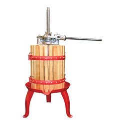 """Weston - Fruit and Wine Press - Features: -Fruit and wine press. -Double ratcheting head to press with greater pressure and ease. -Easy pour bottom spout. -Material: Heavy duty coated cast iron with enameled steel base and hardwood. -Weston provides limited one year warranty. Specifications: -Capacity: 16 quart cage (15 liter). -Overall dimensions: 36"""" H x 21.5"""" W x 21.5"""" D."""