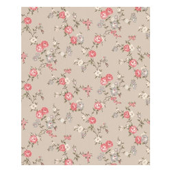 Graham and Brown - Rose Cottage Wallpaper - Taupe/Raspberry - Rose Cottage wallpaper - this small scale climbing rose wallpaper compliments the other floral papers in this collection.