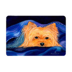 Caroline's Treasures - Yorkie Kitchen or Bath Mat 20 x 30 - Kitchen or Bath Comfort Floor Mat This mat is 20 inch by 30 inch. Comfort Mat / Carpet / Rug that is Made and Printed in the USA. A foam cushion is attached to the bottom of the mat for comfort when standing. The mat has been permanently dyed for moderate traffic. Durable and fade resistant. The back of the mat is rubber backed to keep the mat from slipping on a smooth floor. Use pressure and water from garden hose or power washer to clean the mat. Vacuuming only with the hard wood floor setting, as to not pull up the knap of the felt. Avoid soap or cleaner that produces suds when cleaning. It will be difficult to get the suds out of the mat.