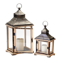 Cyan Design - Oxford Lanterns - Oxford lanterns - raw iron and natural wood