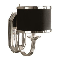 Uttermost - Uttermost 22442 Single Light Wall Sconce from the Tuxedo Collection - Uttermost 22442 Carolyn Kinder Tuxedo Wall SconceSleek silver arms and smart black shading make this distinctive family unique. Silver plated metal with a black hardback shade.Features: