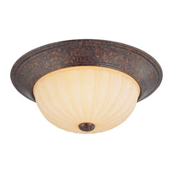 "Savoy House - Flush Mount 13"" - New Tortise Shell Finish with Tinted Scavo Glass."