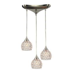 ELK Lighting - Elk Lighting Kersey Chandelier - Kersey Collection 3 light chandelier in Satin Nickel