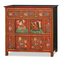 """China Furniture and Arts - Hand Painted Tibetan Cabinet - As a timeless centerpiece, the expressive art style of Tibetan culture is represented in this chest. The front face features floral patterns and Tibetan Buddha paintings on a red background. In addition, gold lines are painted along the edges to pronounce the visual appeal of the cabinet's precise geometry. Features three drawers with interior measurements of 9.5""""W x 12""""D x 3.5""""H and two double door interior compartments measuring 38.5""""W x 12""""D x 14.5""""H. Completely hand-constructed of Elmwood, it is a one of a kind piece that is perfect for the foyer, living room, and bedroom."""