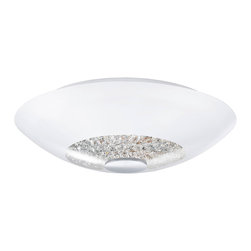 EGLO - Eglo 92711 Chrome 2X75W Semi-Flush Mount, Opal Glass/Crystals - EGLO 92711 Chrome 2x75W Semi-Flush Mount, Opal Glass/Crystals
