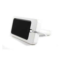 Zeitgeist Factory - iPhone 5 Dock, White - Whether you're rocking out to your tunes or watching an old Rock Hudson movie, this phone dock is for you. It's made from a blend of cement and recycled stone dust, molded to hold your iPhone 5 horizontally or vertically.