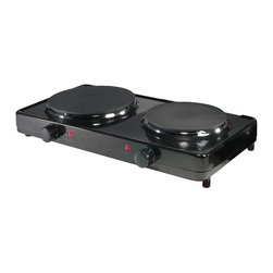 "Aroma - Double Burner Hot Plate - Includes instruction manual with recipes. Portable double hot plate. 6.50 in. and 7.50 in. heating elements for both large and small dishes. Separate temperature controls. Non-skid feet. Separate ""on"" indicator light. Easy to clean design. Warranty: 1 year. Made from durable die-cast metalPerfect for entertaining guests, this electric range from Aroma gives your kitchen the added flexibility of two extra burners. Let dishes cook, or just keep them warm for serving, while keeping them out of your way. Made from professional quality die-cast metal that wipes clean with ease and equipped with full-range dual temperature controls, it's the perfect addition to any cook's collection. It's compact enough to be stored in a cabinet, but stylish enough to leave out for everyday use."