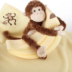 """Baby Aspen - Baby Aspen Plush Monkey Magoo and Blankie Too! In Keepsake Banana Gift Box with - Shop for Blankets from Hayneedle.com! Parents will go bananas for Baby Aspen's Plush Monkey Magoo and Blankie Too! In Keepsake Banana Gift Box with Optional Personalization and baby's new best friend will be Monkey Magoo. The super-lovable monkey buddy hugs his prize banana a keepsake box that hides a surprise for baby. Inside is a fleecy creamy yellow blanket both baby and monkey can snuggle up to. Imagine the adventures they will have. Your little monkey can swing around the """"jungle"""" (nursery) with stuffed friend in tow. Magoo comes with Velcro grips on his hands and feet for maximum swinging and cuddling fun. Just make sure you are around to see that neither little monkey gets into too much mischief.Gift Basket Includes:Plush Monkey Blanket Keepsake boxAbout Baby AspenGifts from Baby Aspen are designed and created with quality as their top priority. Rest assured that all Baby Aspen baby gifts are safe and lead-free. The company has a rigid testing process in place for lead content in every baby gift they manufacture. Baby Aspen's mission is always has been and always will be to keep our little """"end users"""" safe secure and happy."""