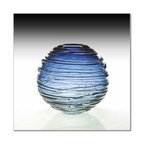 "William Yeoward - William Yeoward Country Sophie Steel Blue 6"" Vase - Sophie is a stunning spherical vase in vibrant colour with trailing glass around the bowl."