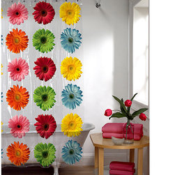 Maytex - Maytex Gerber Daisy PEVA Shower Curtain - The Gerber Daisy shower curtain is a fun,brightly colored curtain with large,photoreal gerber daisy flowers.  This curtain is designed for use with any standard shower curtain rod with rings or hooks.