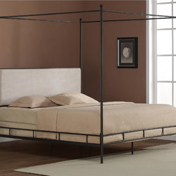 None - Lauren King Metal Canopy Bed - Change the look of your bedroom with this king-size metal canopy bed. This bed features an antique black finish for added style. The frame is made of metal and wood and the head of the bed has an upholstered area covered in foam and microfiber.