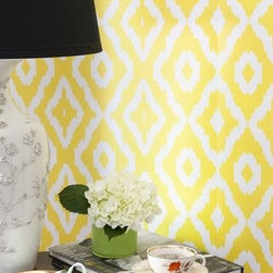 Haze Wallpaper - We're nuts around all things ikat, especially this bright yellow ikat-inspired printed wallpaper. It will cheer up any wall or entire room in your home.
