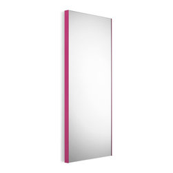 """WS Bath Collections - Speci 17.5"""" x 39.4"""" Wall Mounted Mirror - Speci 5676.16 Mirror Wall-Mount in Glass and Powder Coated Aluminum, Pink Frame, Made in Italy"""