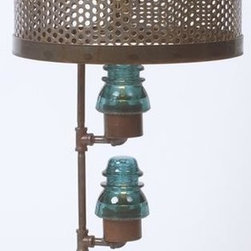 EuroLux Home - Upcycled Table Lamp Consigned Vintage Glass Telegraph - Product Details