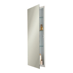 """Low Profile Narrow Recessed Medicine Cabinet - Ideal for sidewall storage, this Low Profile Narrow Recessed Medicine Cabinet projects a mere 3/4"""" from the wall when installed. This narrow medicine cabinet features a sleek, frameless mirror and three adjustable glass shelves within."""
