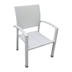 Manhattan Home Design - Bella Dining Outdoor Patio Armchair - Relax in confidence, as you effortlessly unite diverse forces to take center stage. Wealth and success surround you and draw attention to greater heights.  This outdoor wicker dining chair has a sturdy aluminum frame covered with an espresso rattan weave.