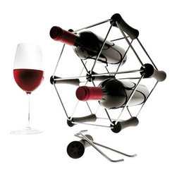 Eva Solo - Eva Solo Wine Rack - This is a fun and creative wine rack in which you can assemble and expand in a variety of ways. Each set contains seven connecting pieces and 24 bars. Create a work of art that can be left up to your imaginations and fit your needs. Wine rack holds up to 6 bottles. Bottles not included.