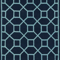 "Loloi Rugs - Loloi Rugs Stephanie Collection - Navy / Aqua, 2'-3"" x 7'-6"" - An instant upgrade for rooms ranging from modern to sophisticated, the bold and tonal Stephanie Collection is hooked in India of 100% wool. Each design is featured on a high-low pile for a sense of dimension and textural interest. Available in 6 sizes including a scatter and runner."