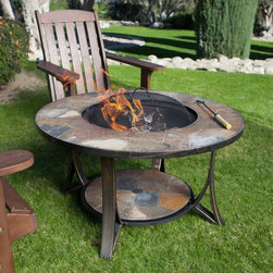 Deeco Consumer Products LLC - Arizona Sands II Round Fire Pit Table Multicolor - DM-643610N-IC - Shop for Fire Pits and Fireplaces from Hayneedle.com! The Arizona Sands II Round Fire Pits Table has been redesigned to make the table higher and create a convenient place at the bottom of the legs to hold the fire pit lid. It warms the air on chilly nights and serves as a stylish table in the heat of the summer. The Arizona Sands II makes a great companion to any patio furniture decor. Simply place insert to cover the fire pit and your table is ready for use. For a stylish cocktail setting the Rock Canyon folding chairs coordinate perfectly with our Arizona Sands II fire pit table.