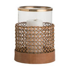 Arteriors - Honor Hurricane - The Honor hurricane is a perfect example of how beautiful mixed materials can be. Antique brass on the top, woven wood cane around the glass and leather on the base.