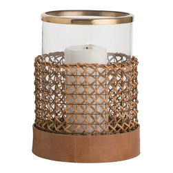 Arteriors - Honor Hurricane, Small - The Honor hurricane is a perfect example of how beautiful mixed materials can be. Antique brass on the top, woven wood cane around the glass and leather on the base.