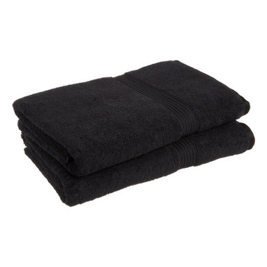Superior 600GSM Egyptian Cotton 2pc Black Oversized Bath Towel Set - Wrap yourself in the soft, luxurious feel and spa-like quality of these fluffy towels. These towels are made with 100% Egyptian Cotton, the more you wash them, the softer and fluffier they get!  Towels are also super absorbent and feel great against your skin.  Towel Set includes: Two Oversized Bath Towels-34x68 each.