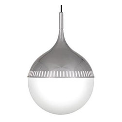 Robert Abbey Lighting - Robert Abbey Jonathan Adler Rio Pendant in Polished Nickel - • Bulb Type: GU24 CFL • Direct Wire • Polished Nickel Finish • White Glass Shade • Susp. Hardware: 12ft White Cord • UL Rated Damp Location