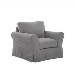 """PB Comfort Slipcovered Grand Armchair, Box Cushion, Down-Blend Wrap Cushions, Ev - Sink into the grand armchair just once, and you'll know how it got its name. Designed with an evender seat than our regular PB Comfort Armchair, the eco-friendly grand armchair offers 5"""" of extra width. 46.5"""" w x 42"""" d x 39"""" h {{link path='pages/popups/PB-FG-Comfort-Roll-Arm-4.html' class='popup' width='720' height='800'}}View the dimension diagram for more information{{/link}}. {{link path='pages/popups/PB-FG-Comfort-Roll-Arm-6.html' class='popup' width='720' height='800'}}The fit & measuring guide should be read prior to placing your order{{/link}}. Choose polyester wrapped cushions for a tailored and neat look, or down-blend for a casual and relaxed look. Choice of knife-edged or box-style back cushions. Proudly made in America, {{link path='/stylehouse/videos/videos/pbq_v36_rel.html?cm_sp=Video_PIP-_-PBQUALITY-_-SUTTER_STREET' class='popup' width='950' height='300'}}view video{{/link}}. For shipping and return information, click on the shipping tab. When making your selection, see the Quick Ship and Special Order fabrics below. {{link path='pages/popups/PB-FG-Comfort-Roll-Arm-7.html' class='popup' width='720' height='800'}} Additional fabrics not shown below can be seen here{{/link}}. Please call 1.888.779.5176 to place your order for these additional fabrics."""
