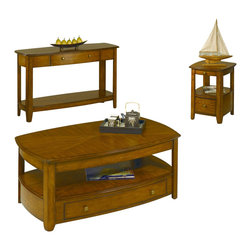"""Hammary - Hammary Primo 3-Piece Coffee Table Set - In this hectic workaday world, with the demands of jobs and school and the endless obligations of life, sometimes it's refreshing to come home. And take a breath. And relax. And spend time with those you love, in a place you love. With Hammary's new """"Primo"""" collection, you will feel more at home than ever before. This refined collection of occasional tables, designed in the transitional/Casual style, is crafted from cathedral oak veneers with bold curved shapes, creating a soothing presence in any room. Table tops and shelves also are cathedral oak veneer and feature a reverse diamond pattern. The warm, hand-rubbed medium brown finish with soft burnished detailing along the edges adds an extra touch of understated style. We built each-piece in """"Primo"""" with today's active families in mind. Case in point: the cocktail table has a lift top with remote control storage under the lift top, a shelf and an extra-wide storage drawer. Other tables are equally as functional, with a wide array of storage drawers and shelves. An entertainment console tops off an already impressive group of home furnishings. Choose """"Primo"""" from Hammary for your home. It's a choice for quality craftsmanship and first-rate design. After all, you and your family deserve the very best."""