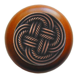 Classic Collection - Classic Weave Wood Knob in Antique Copper/Cherry