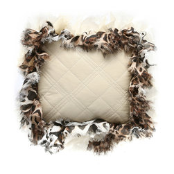 Brandi Renee Design - Ivory Faux Leather with Ivory Cheetah Ruffle Pillow - This cute ivory quilted faux leather accent pillow with a silver cord edge and a tiger ruffle accent.
