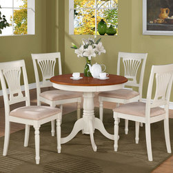 """East West Furniture - 5Pc Antique Round Kitchen 36"""" Table and 4 Plainville Chairs with Padded Seat - Sleek dinette set adds sophistication to any kitchen or breakfast nook.; Wrapped in a warm buttermilk and cherry finish to compliment any decor.; The 36-inch round tabletop with beveled edges is beautiful enough to display fine china and sturdy enough for a family barbeque.; Supported by a graceful 30-inch pedestal stand that features four elegantly carved legs.; Four color-coordinated, slatted, high-backed kitchen chairs features graceful curves from top to bottom and stylish detailing.; Chair seats are available in wood or upholstered that is swathed in a camel-colored microfiber cover that make the inevitable food and drink spills a cinch to clean up.; Weight: 112 lbs; Dimensions: Table: 36""""L x 36""""W x 29""""H; Chair: 18""""L x 18""""W x 38""""H"""