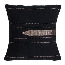 Barn & Willow - Kilim Zari Pillow Cover, Black - Inspired by Turkish Kilim, this zari woven Kilim design on cotton base is classic, ornamental and uber gorgeous. Hand crafted with love by artisans in India.