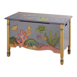 Teamson Design - Teamson Kids Under the Sea Hand Painted Kids Toy Chest/Box - Teamson Design - Toy Boxes and Chests - W7481A. This is a hand painted Under the Sea themed children's toy chest. Now you can organize your child's toys with a beautifully themed toy chest!
