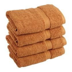 Luxurious Egyptian Cotton 900 Gram 4-Piece Rust Hand Towel Set - Luxurious Egyptian Cotton 900GSM 4pc Rust Hand Towel Set