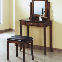 Monarch - Walnut Solid-Top 2Pcs Vanity Set / Brown Leather-Look - This stylish contemporary vanity set will be a fabulous addition to your bedroom or dressing area. Create a peaceful space to get ready for your day, or a great place to dress for a fun night out. This piece features smooth lines, tapered legs, a vertical swivel mirror, and a center drawer to keep brushes and other objects. With a distressed walnut finish and constructed with solid hardwoods and veneer, this vanity set will add sophistication to any room. The matching stool features sleek wooden legs, accompanied with a comfortably padded, brown leatherette covered seat.