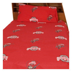 College Covers - NCAA Ohio State Buckeyes Collegiate Red King Bed Sheet Set - Features: