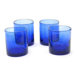Certified International Bubble 14-ounce Double Old Fashion Glasses - Cobalt blue tumblers are perfect for a summertime mixed drink or a simple glass of freshly brewed iced tea. The contrast of a lemon or lime wedge would be beautiful.