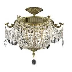 "PWG Lighting - Telfour 6-Light 18.5""D Crystal Flush Mount 7911F18FG-RC - Cast brass arms and finely detailed rings and center columns accented by glamorous crystal beading evoke royalty in this Telfour Collection. Coordinating crystal baskets complement these stately designs."