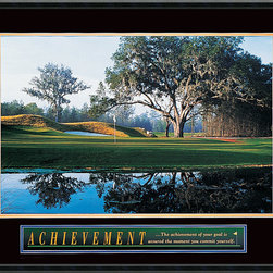 Amanti Art - Achievement: Golf Framed Print - Pristine greens and an inspiring message make a striking statement in your favorite setting. This gallery quality print is a hole in one for your decor!
