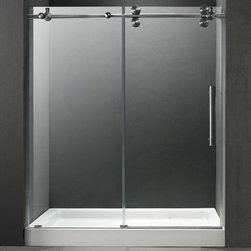 "Vigo Industries - VIGO 60-inch Frameless Shower Door 3/8"" Clear/Stainless Steel Hardware with Whit - Make your bathroom an oasis with a VIGO frameless shower door with matching 60"" x 36"" shower base. Features Single water deflector redirects water toward the inside of the showerSide and door clear seals keep the shower watertight between wall and glass door or fixed panelFull-length clear seals make the shower waterproof where door and side panel overlap 3/8"" Clear tempered glass ANSI Z97.1 certifiedStainless steel finish solid brass or stainless steel construction hardware ensure superior quality and durability, VIGO lifetime guarantee to never rustSpecially designed rollers make door closing smooth and effortless Reversible left- or right-sided door installation optionsTop rail support ensures wall anchoring and reinforces wall stability When this shower door is sold with the matching base, the 56"" - 60"" adjustable opening becomes a fixed dimension and must be installed at the size of 59-3/4"". Shower Tray: VG06049WHT6036CConstructed of acrylic with fiberglass reinforcement, this VIGO shower base features textured bottom for added safety. Durable cross-linked cast acrylic shell is extremely scratch and stain resistant, yet renewable because the color goes all the way through the material. Non-porous surface makes cleaning and sanitizing faster and more effective. Multi-layered backing of thick fiberglass / resin encloses wood reinforcement to prevent flexing of floor pan. At least 30% thicker and stronger than other makes. Pre-leveled with integral tile flange on 2 sides to facilitate installation. Textured bottom for extra safety. Standard 3-1/2"" pre-drilled center drain opening. This shower door is also sold with a 60"" x 30"" or 60"" x 32"" shower base. Available in multiple sizes.2 Year Limited Warranty. View Spec Sheet View Installation Instructions View Shower Tray Spec Sheet View Shower Tray Installation Instructions"