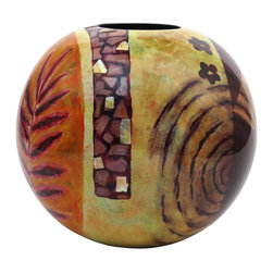 Hebi Arts - Round Lacquer Vase, Green - Looking for an unique, high quality vase? Our hand-painted lacquer vase is a true piece of art. Each piece, with changing colors and abstract patterns, is inlaid with egg shells and mother of pearl for enhanced details.