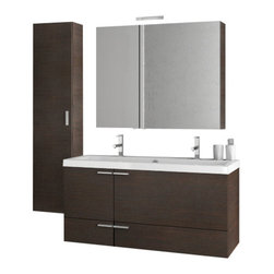 ACF - 47 Inch Wenge Bathroom Vanity Set - This contemporary style vanity is part of the ACF New Space collection and comes in a wenge finish.