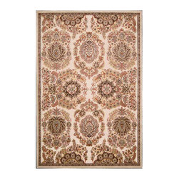 """Kathy Ireland - Kathy Ireland KI02 Santa Barbara KI303 7'9"""" x 9'9"""" Ivory Area Rug 10157 - This traditional leaf and floral design in rich, radiant tones infuses any area with old world elegance and enduring luxury.'A unique treatment that highlights key design elements in'silk-like cut pile polypropylene on ultra-soft, flat woven grounds. Bestow your space with a beautiful, dramatic tone, texture and contrast. Our Versailles rug lives in our'European Country Style Guide."""