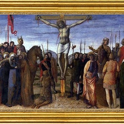 """Jacopo Bellini-14""""x28"""" Framed Canvas - 14"""" x 28"""" Jacopo Bellini Crucifixion framed premium canvas print reproduced to meet museum quality standards. Our museum quality canvas prints are produced using high-precision print technology for a more accurate reproduction printed on high quality canvas with fade-resistant, archival inks. Our progressive business model allows us to offer works of art to you at the best wholesale pricing, significantly less than art gallery prices, affordable to all. This artwork is hand stretched onto wooden stretcher bars, then mounted into our 3"""" wide gold finish frame with black panel by one of our expert framers. Our framed canvas print comes with hardware, ready to hang on your wall.  We present a comprehensive collection of exceptional canvas art reproductions by Jacopo Bellini."""