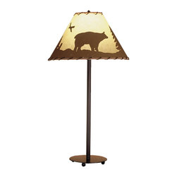 Meyda Tiffany - Meyda Tiffany Bear in the Woods Transitional Table Lamp X-56484 - From the Bear in the Woods Collection, this Meyda Tiffany transitional table lamp features a beautiful bear and bird motif. The rustic details of this table lamp are highlighted by a parchment paper backdrop and Mahogany Bronze finished. Wrapped rawhide and hand painted detailing add to the appeal.