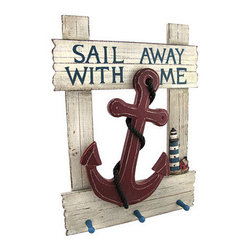 `Sail Away With Me` Nautical Anchor Wall Plaque with Pegs - This wall plaque adds a decorative accent home, complementing beach or nautical themes. Made of wood, it measures 18 1/4 inches tall, 13 1/4 inches wide, and 2 1/2 inches deep. This piece has an allover distressed finish and features an anchor and rope in the center with a lighthouse off to the side. It also has 3 pegs to hang keys, jackets, or hats. It easily mounts to the wall with 2 nails or screws by the picture hangers on the back.
